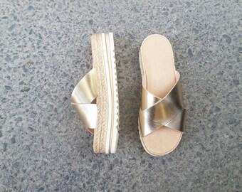 Espadrilles Sandals, Flatform Greek sandals, Wedge sandals, Platform Sandals, Leather Sandals, Criss Cross Sandals in a variety of colours