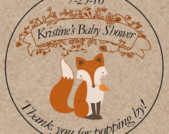 "Personalized Baby Shower Labels - Custom Mason Jar Labels - Thanks for Popping By - Fox - Woodland creatures - 2"" & 2.5"" round stickers"