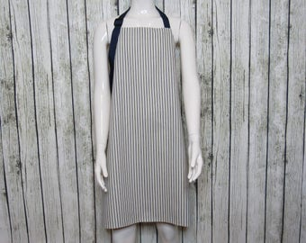 Blue Stripped Apron, BBQ Apron, Gift For Dad, Barbershop Apron, Apron For Dad, Cooking Apron, Chef Apron, Baking Apron, Full Length Apron