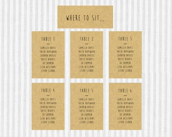 16 Wedding Seating Plan. Seating Chart. Seating Assignment. Modern Font. Kraft. Simple. Rustic. Handmade. Country Chic.