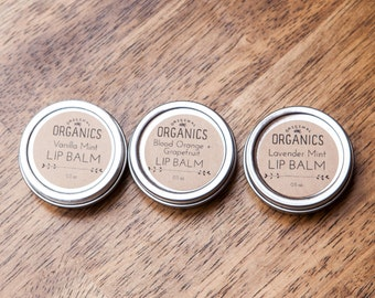 Organic Lip Balm Tin TRIO (Buy 3 + SAVE!) - Lavender Mint // Blood Orange + Grapefruit // Vanilla Mint - 1 of each flavor - 0.5 oz each