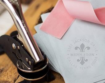 """Return Address Embosser, Blind Emboss Wedding Invitation Seal, Circular Fleur-de-lis Address Embosser Plate, 1.5"""""""