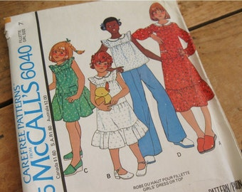One dollar SALE McCall's 6040 Pattern for girl's dress or top, uncut