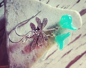 Dragonfly earrings, Dangle Earrings, Dragonfly Jewelry, Blue Glass Earrings, gift for her