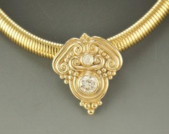 Gold Moissanite Slide Necklace/ Moissanite Slide/ Gold Moissanite Pendant/ Handmade Moissanite Necklace/ Gift for Her/ Anniversary Gift