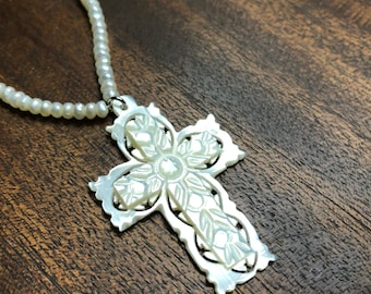Mother of Pearl Vintage Hand Carved Cross on Beaded Pearl Necklace