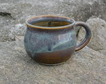 Cricket Sonata Ceramics: Blue and Brown Mug, Wheel Thrown, Handmade