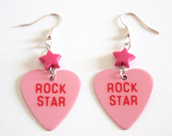 Pink Heart Rock Star Guitar Pick Earrings with Stars