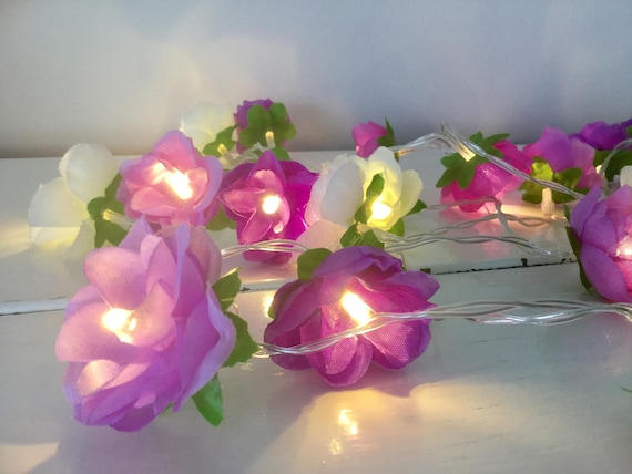 Purple lilac and white rose fairy lights 20 fairy led purple lilac and white rose fairy lights 20 fairy led lights flower garland rose lights string garland mothers day present mightylinksfo