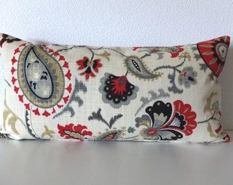 Floral Siren Song Graphite 12x24 Lumbar Pillow Cover