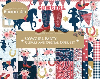 Cowgirl clipart, Cowgirl Digital Paper, Cowgirl Party, Cowgirl Boots, Cowboy Boots, Red, White & Blue Clip Art + Digital Paper Set