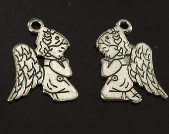 2 PC Angel Charm-Antique Silver Tone
