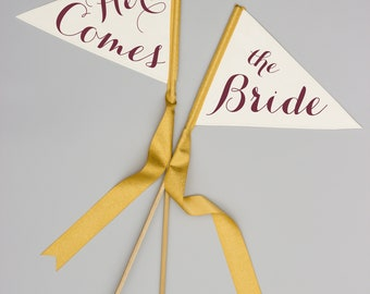 "Set of 2 Wedding Signs ""Here Comes"" + ""The Bride"" Pennant Flags Ring Bearers 