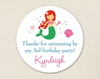 Mermaid Party Favor Stickers - Choose your own mermaid - Sheet of 12 or 24
