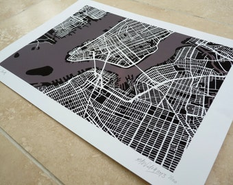 New York Art Map - Limited Edition Contemporary Giclée Print
