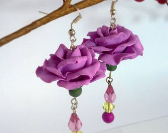 Handmade polymer clay and beads purple roses earrings