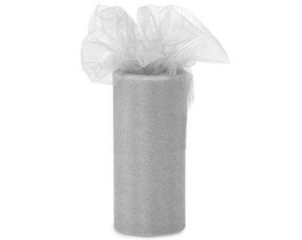 """6 inch x 100 yds """"Import"""" Nylon Tulle Roll - SILVER-Fall Special only 5.99 roll"""