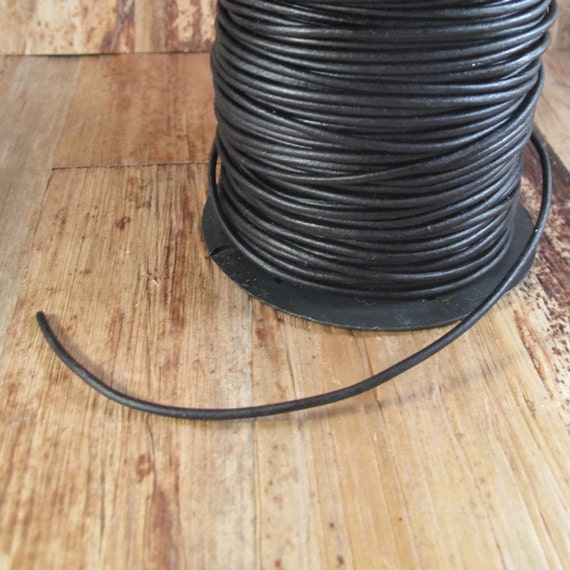Ultra Soft Black Leather, Black Round Leather, 2mm, 5 Feet, Cord for Wrap Bracelets and Jewelry Making (L-Mix12d)