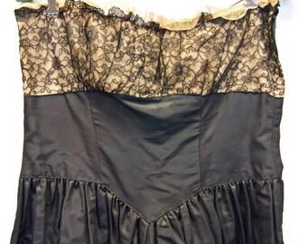 Vintage 80s New Wave Lace Top Strapless Party Dress Sz S