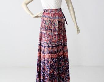 1970s wrap skirt, vintage India cotton boho block print maxi skirt