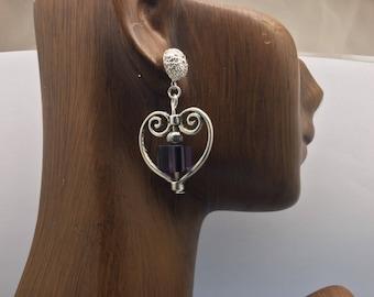 Purple Beaded Heart Shaped Dangle Earrings on Silver Filigree Post