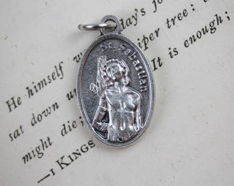 St Sebastian Medal - Catholic Patron Saint of Endurance, Athletes, Doctors and Police - Silver Oxidized Metal Jewelry Supply (M44)