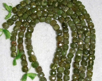Vesuvianite, Vesuvianite Cube, Faceted Cube Bead, Olive Faceted Cube, Natural Stone, Semi Precious, Half Strand,  6-7mm, AdrianasBeads