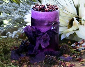 """WITCH'S BLACKBERRY BREW™ """"Old European Witchcraft""""™ Pillar Candle w/ Natural Amethyst, Blackberry, Boysenberry, Dark Cherry, Coffee Bean"""