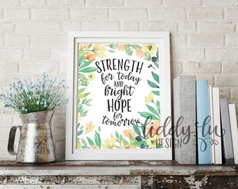 Strength for Today Floral Printable Artwork 8x10