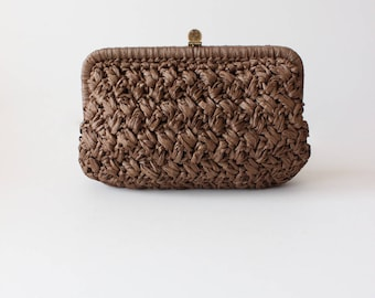 1960s Handbag / Vintage Barbara Lee Brown Woven Raffia Clutch Bag