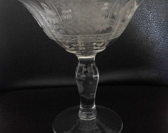 Elegant Vintage Engraved Clear Crystal Glass Floral Compote