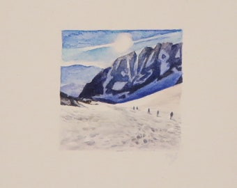 Mt. Whitney, miniature watercolor