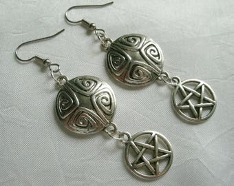 Pentacle Earrings, wiccan jewelry pagan jewelry wicca jewelry celtic witch witchcraft pentagram earrings pagan earrings wiccan earrings