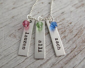 Personalized Mother's Necklace, Rectangle Name Tags, Hand Stamped, Birthstones