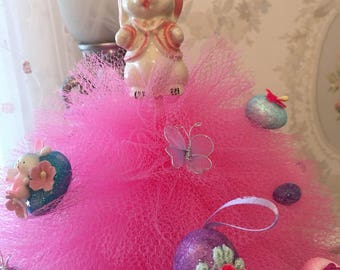 Vintage Inspired Bright Pink Tulle Easter Tree
