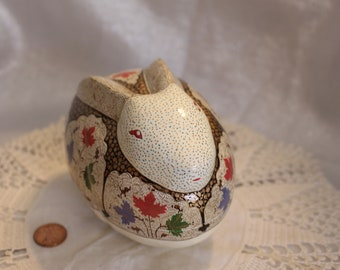 Vintage Hand Painted Lacquer Bunny Trinket Box Folk art