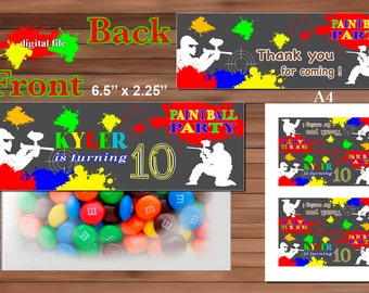 Paintball Favor Bag Toppers, Personalized, Printable PDF