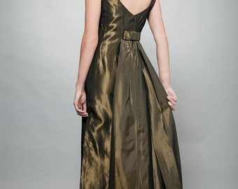 evening gown maxi dress green taffeta pinstripes bow back vintage 70s S Small