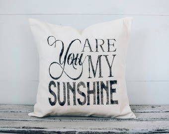 Pillow Cover You Are My Sunshine burlap cover fabric cover 16x16 *free shipping*