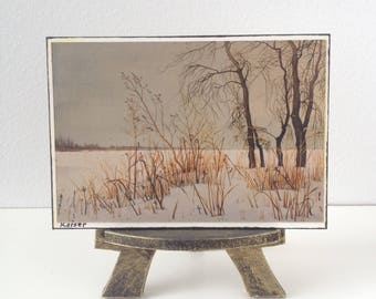 Miniature Easel with photograph of original painting by artist