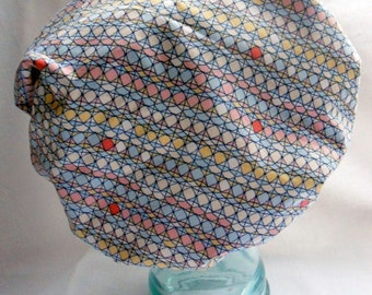 Waterproof Shower Cap - Vintage Abstract Circles Dots Blue Pink Yellow White Red - Retro Rockabilly Bath and Beauty Hat
