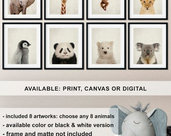 Baby Animal Nursery Decor, Animals Heads Pictures, Baby Room Animal Prints, Elephant Giraffe Lion Penguin Koala Panda Bear Polar Bear Monkey