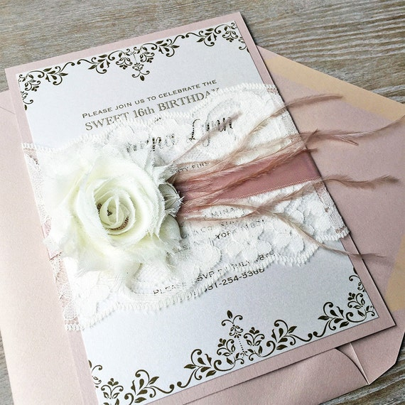SAVANNA - Pink Blush and Ivory Lace Invitation - Ivory Lace Belly Band with Ivory Chiffon Flower, Blush Pink Ribbon & Feathers