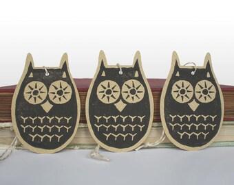 3 hand printed owl gift tags