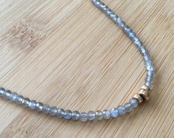 Fire Labradorite Necklace, 14K Gold Filled Necklace, Gold Necklace, Labradorite Jewelry, Gray Beaded Necklace, Gemstone Necklace
