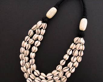 Cowrie Shell 3-Strand Necklace