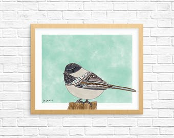Chickadee Art, Chickadee Wall Art, Chickadee Art Print, Bird Art, Bird Art Print, Home Decor, Dorn Decor, Office Decor, Nursery Art