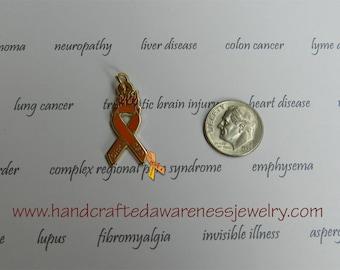 """Orange Ribbon Awareness, CRPS, CRPS Awareness, RSD Awareness, """"Fight the Fire"""", Awareness Charm"""