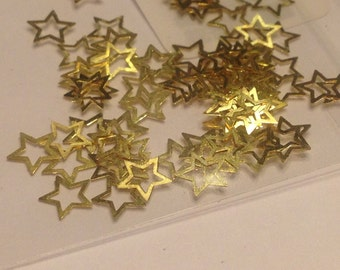 20 pieces of gold metal Star nail decals 5 mm (S11/5)