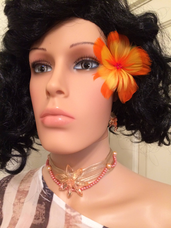 Genuine Orange Hibiscus Feather Flower Ear Pickhair